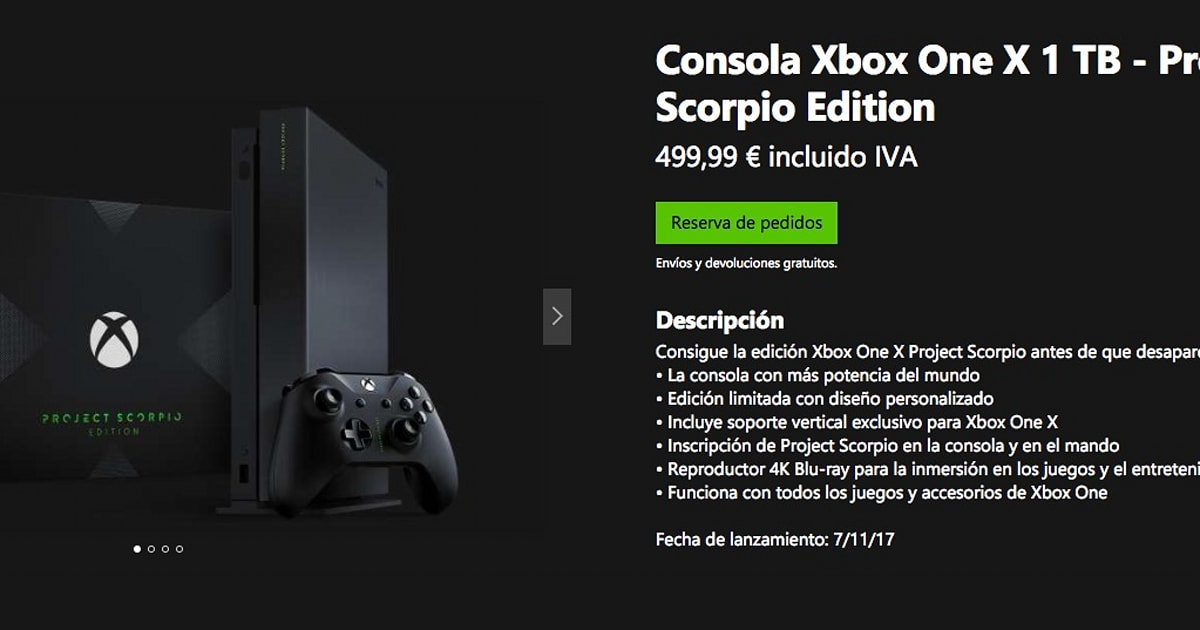 Reserva Tu Xbox One X Edicion Project Scorpio Hoy Mismo Por 499 99 Euros