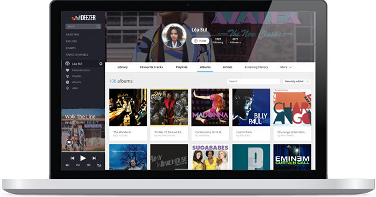 Deezer's redesigned its web interface to look more like a tablet app