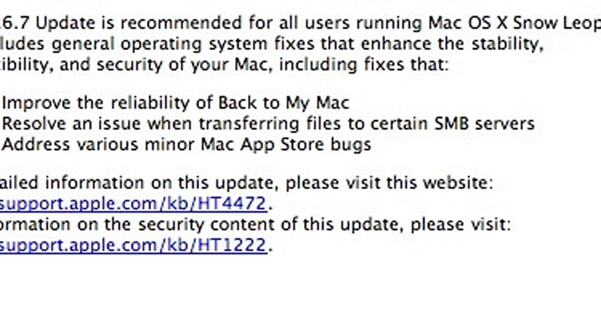 Mac OS X 10 6 7 available in Software Update