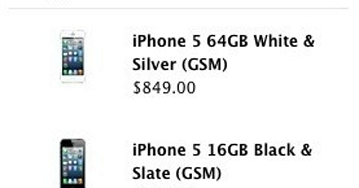 Factory unlocked iPhone 5 prices leak on Apple's US website