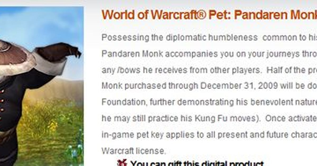 Blizzard launches real money in-game pet store