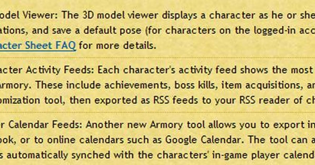 Armory updates with model viewer, character and calendar feeds