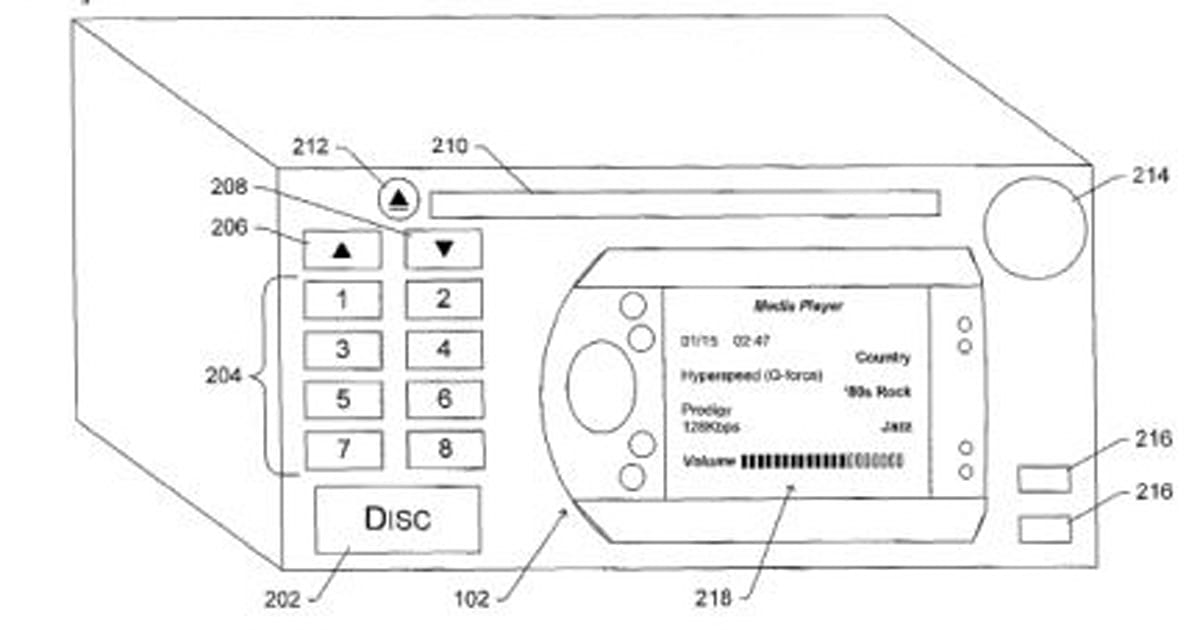 Microsoft patent details in-car stereo with docking station