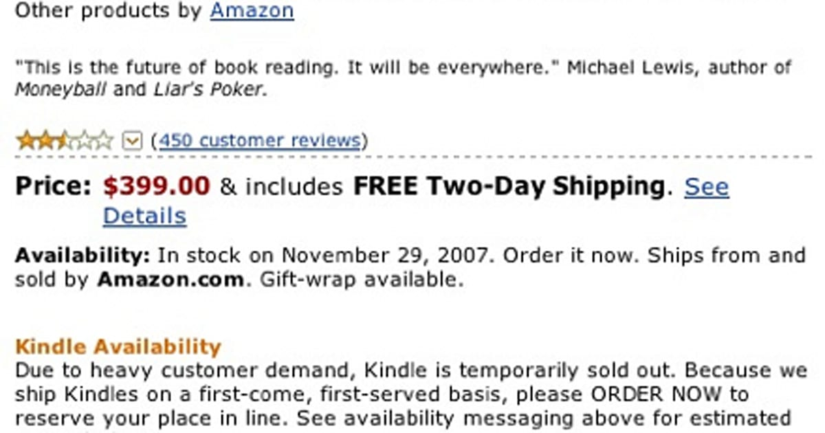 Kindle sells out in 5 5 hours