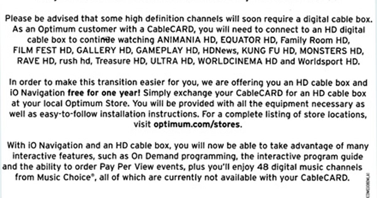 Cablevision / Optimum coaxing CableCARD users back to HD STB