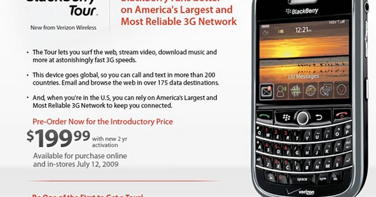 Verizon's BlackBerry Tour coming July 12th, pre-order page
