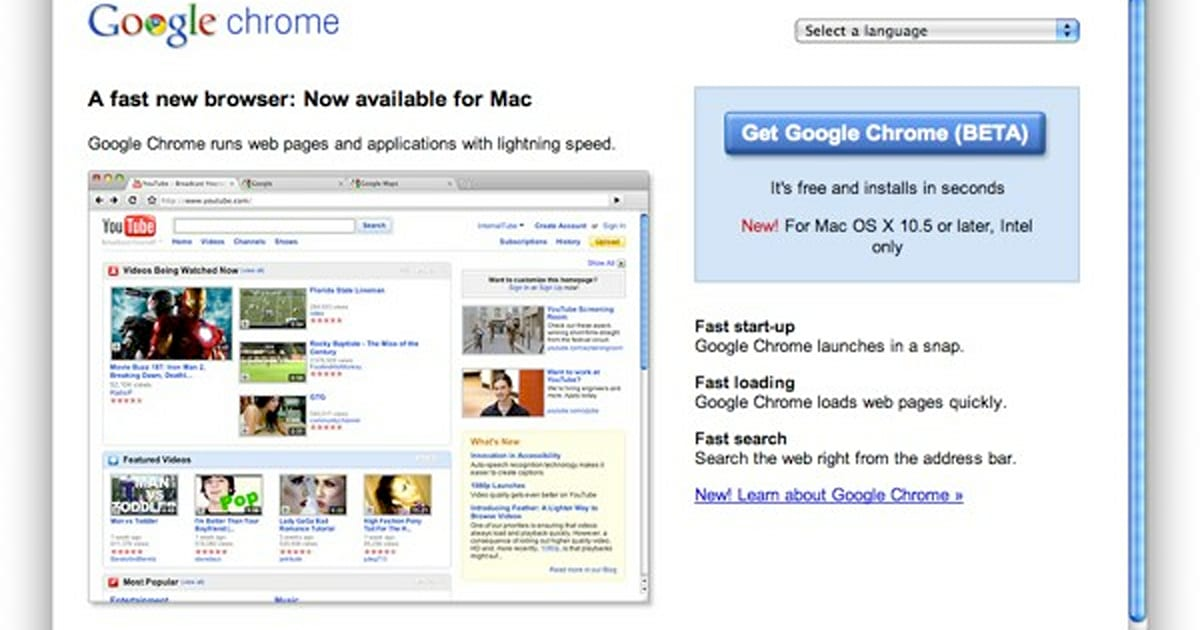 Google Chrome hits beta for Mac and Linux, extensions available for