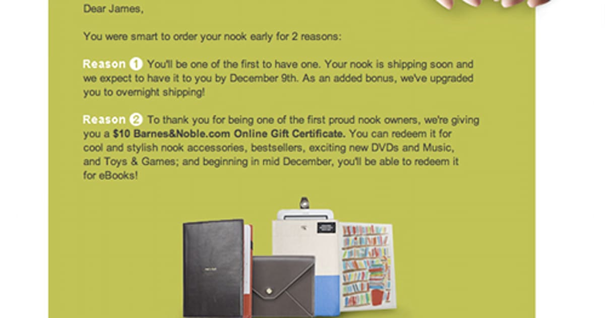 Nook Early Adopters Promised A December 9th Shipment 10 Online
