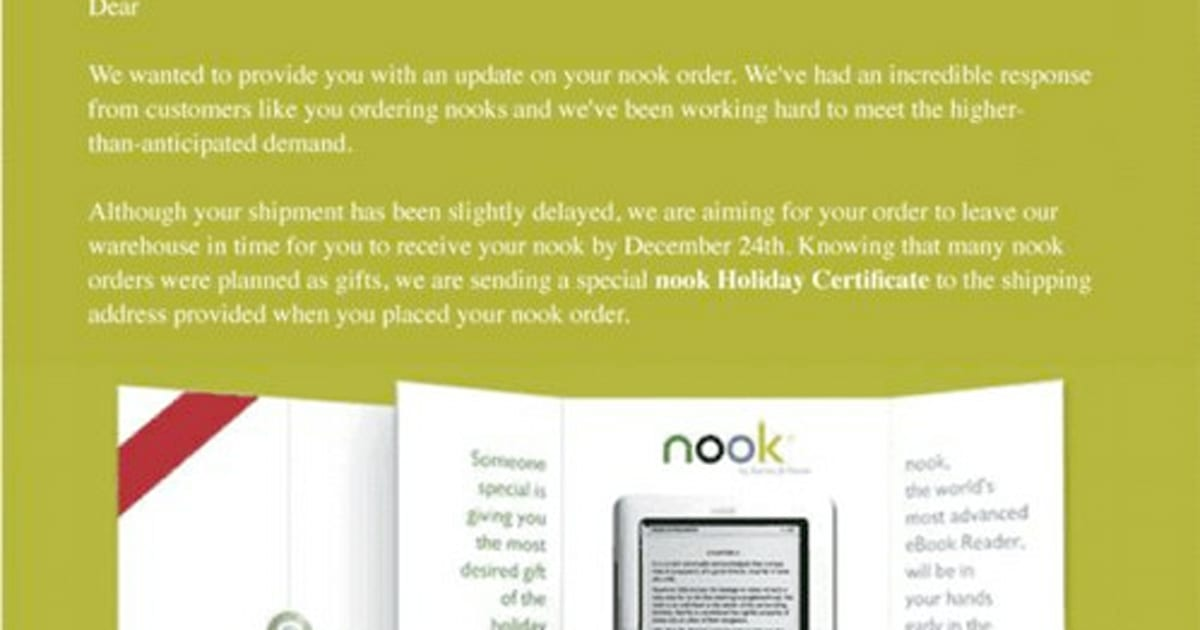 Barnes Noble Giving 100 For Nook Pre Orders That Miss Christmas