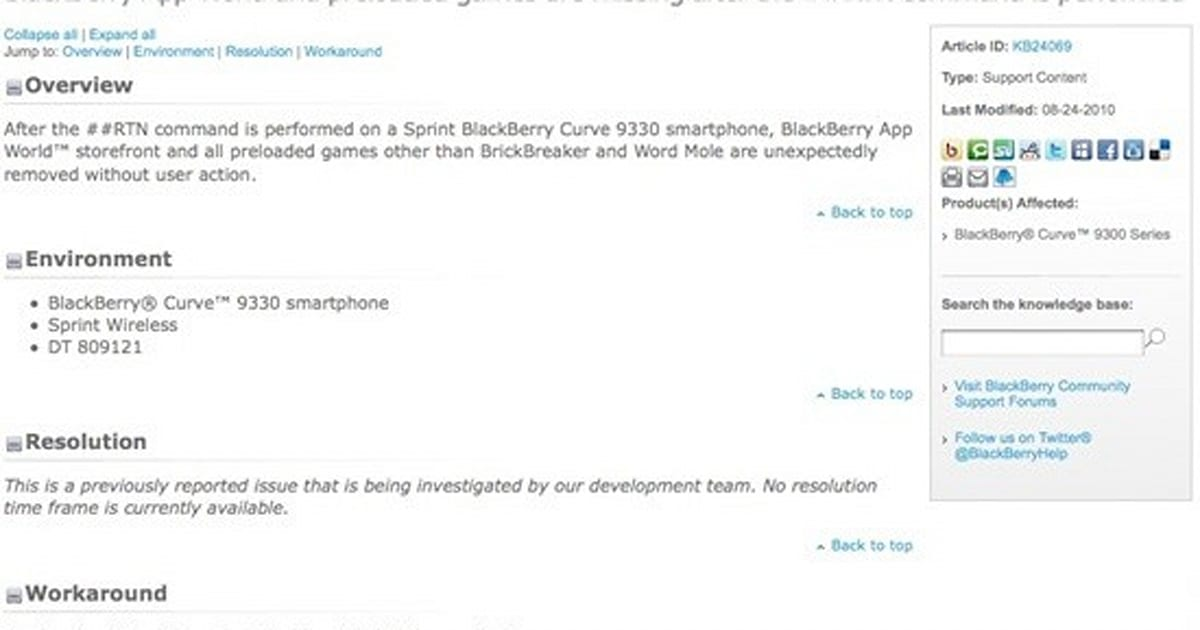 BlackBerry Curve 9330's marriage with Sprint seemingly