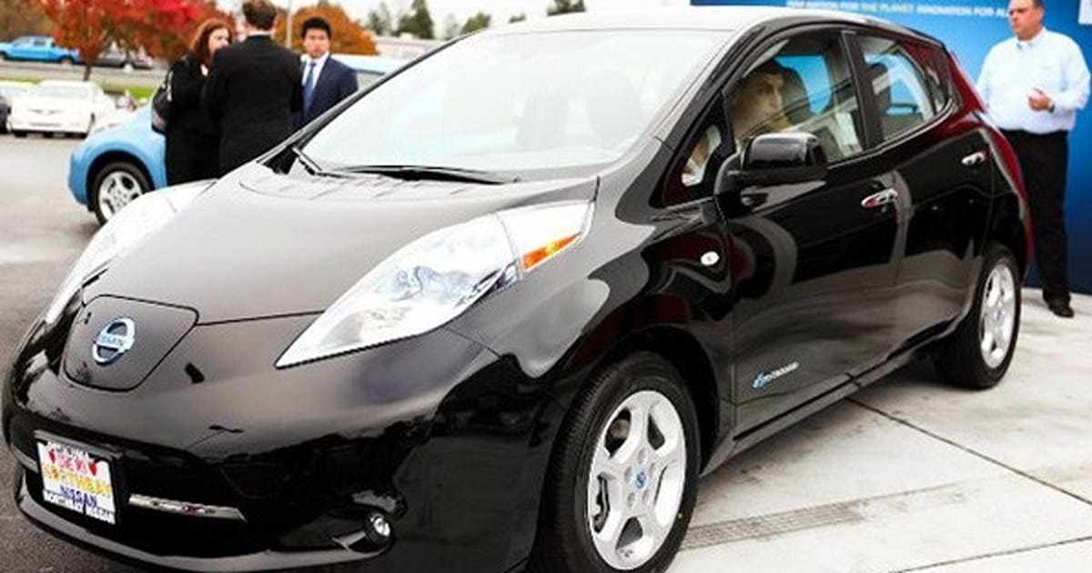 Worlds First Nissan Leaf Delivered Its Black Like The Future