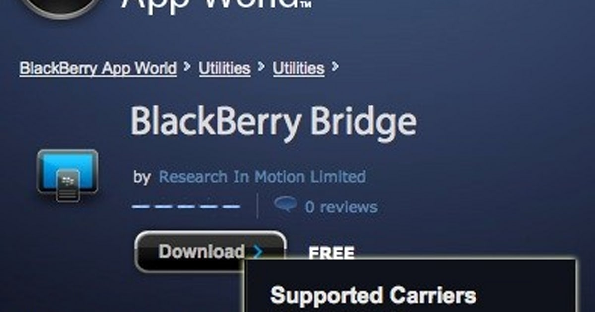 BlackBerry Bridge not available for PlayBook users on AT&T