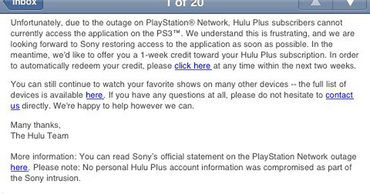 Hulu Plus credits users for PlayStation Network-related downtime