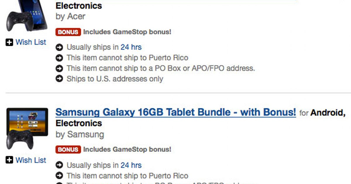 Gamestop Gives In To Its Sweet Tooth Stocks Android Tablets At Over