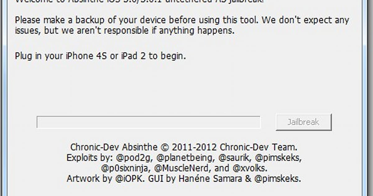 Absinthe A5 Jailbreaker for iPhone 4S / iPad 2 now available