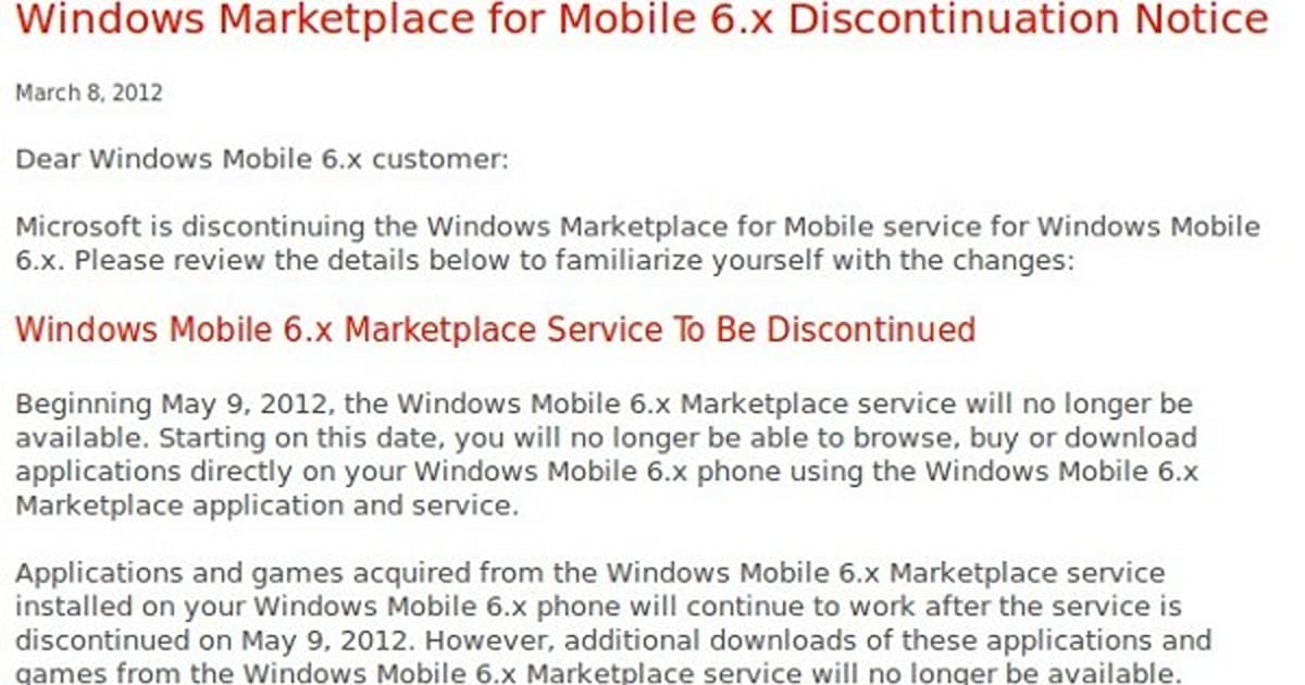 Microsoft putting Windows Mobile 6 x market out to pasture