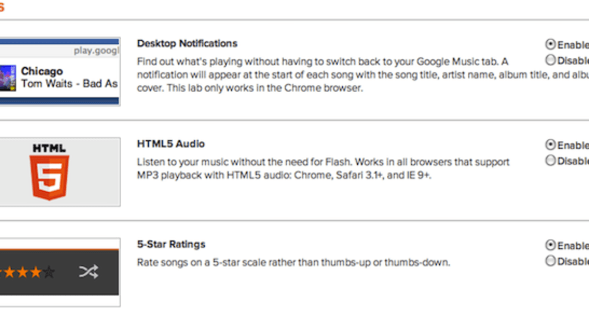 Google Play Music switches on labs features: HTML5 player