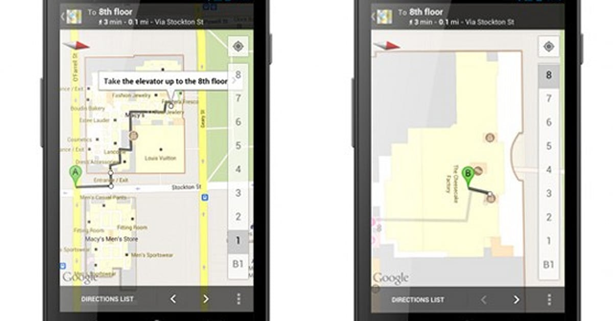 Google Maps for Android takes you inside with improved ... on mapquest walking maps, disney walking maps, google safety, google fitness,