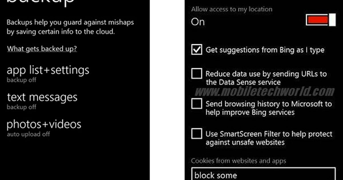 windows phone 8 sdk leaks show quiet upgrades to backup media and the kitchen sink