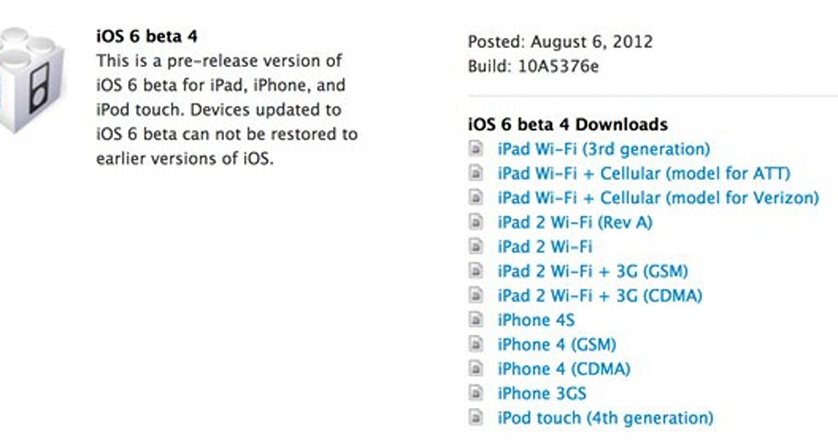 Apple seeds iOS 6 beta 4 to developers: here's the changelog