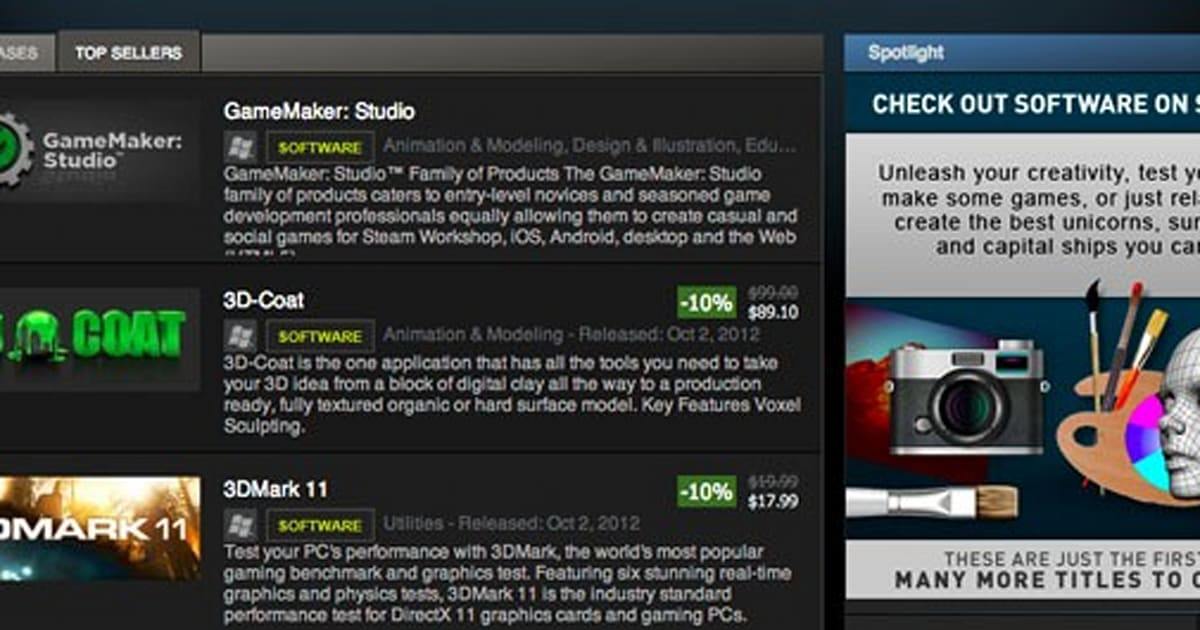 First non-game titles now available on Steam, game dev tools