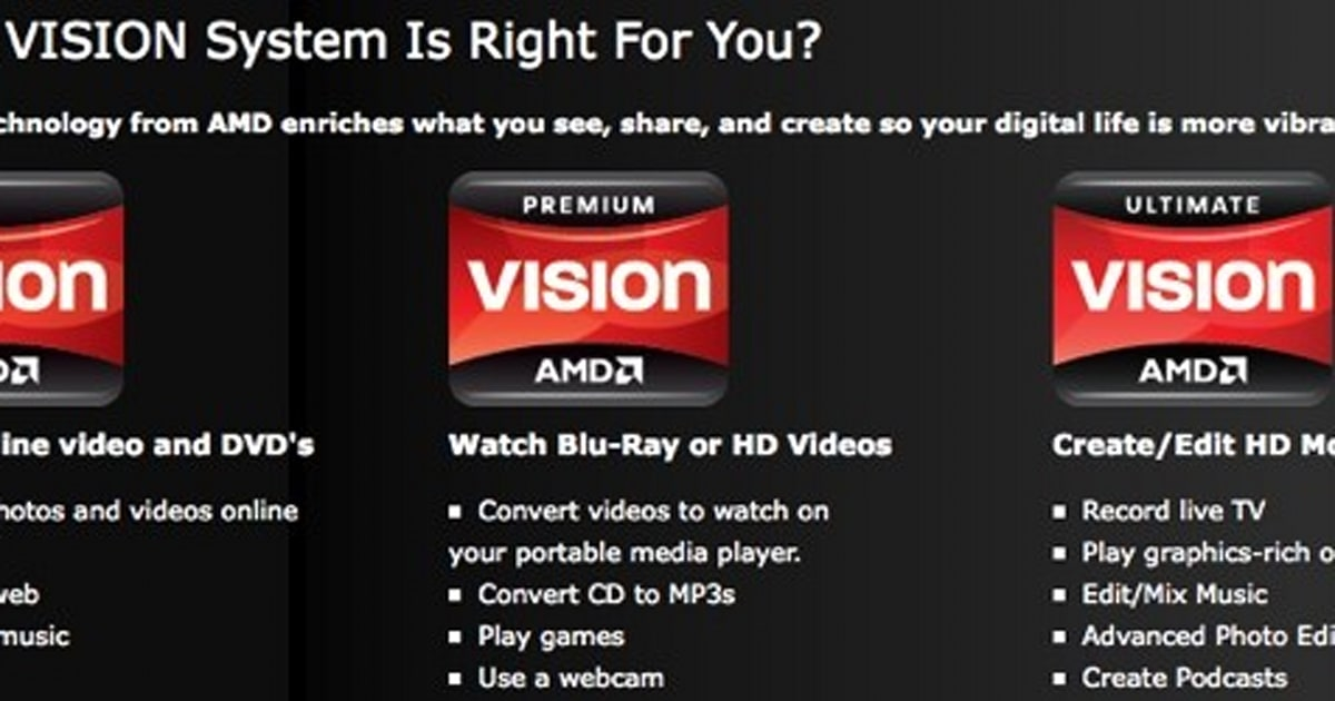 AMD announces 'VISION' guide to buying PCs