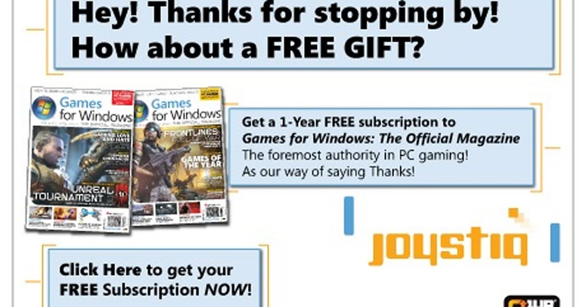 Joyswag: Free 1-year subscription to Games for Windows magazine