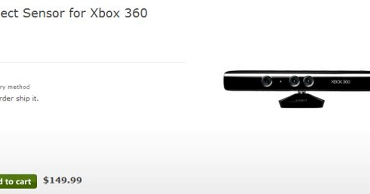 Microsoft Store website lists Kinect for $149.99
