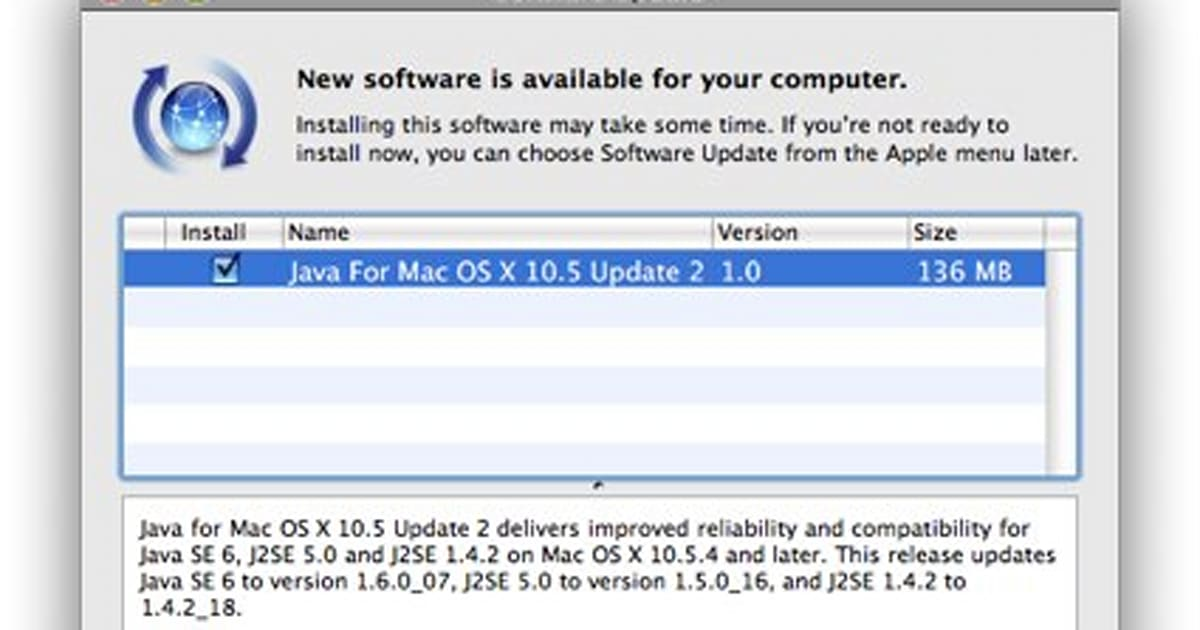 Java for Mac OS X 10 5 Update 2