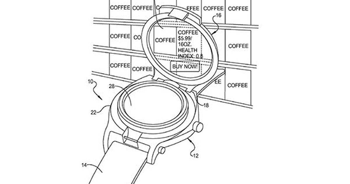 Google patents smart watch with flip-up display that could