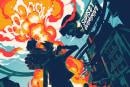 Poster maestros Mondo debut stylized Sunset Overdrive art