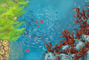 Guide a jellyfish swarm under the sea in Jelly Reef