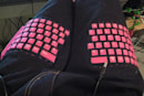 DIY semi-functional keyboard pants destined for the geek catwalk