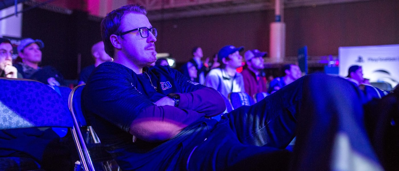 "Matthew ""Burns"" Potthoff watches his team compete at CWL New Orleans."
