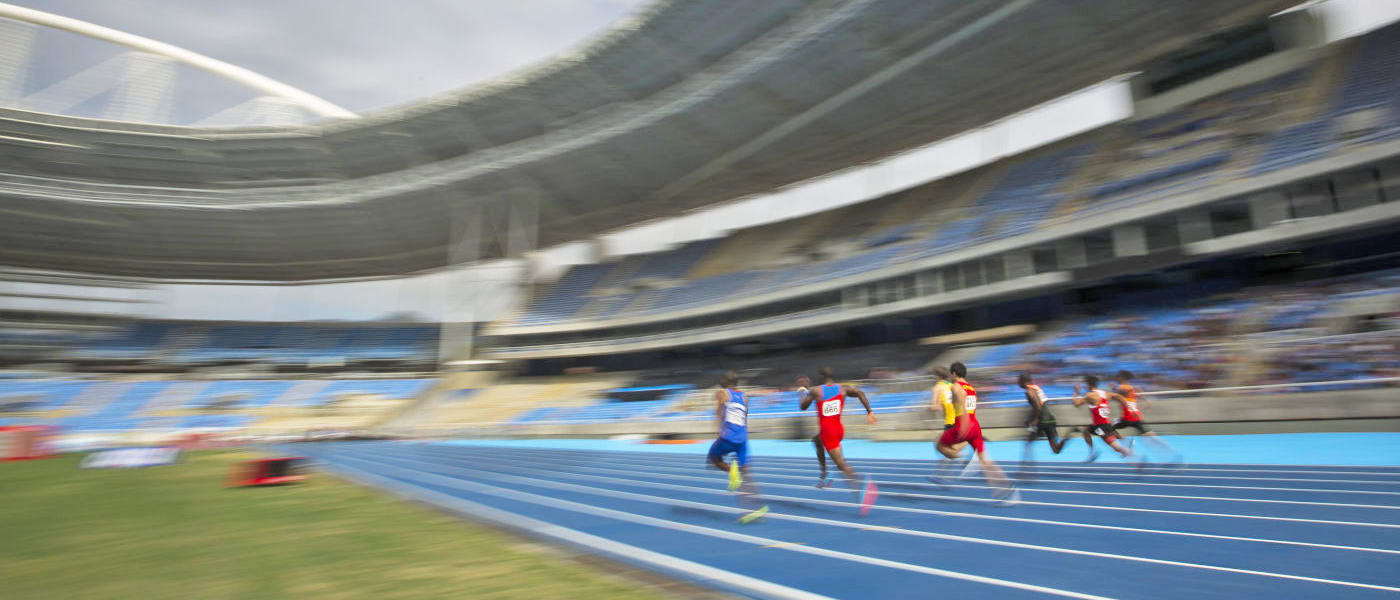 Men compete in the 100m round 1 during the Athletics test event at the Rio Olympic Stadium in Rio de Janeiro, Brazil, Saturday, May 14, 2016.