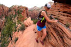 Couple Explore the Dizzying Heights of Angels Landing in Zion National Park