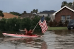 Kayakers Navigate Flooded Streets in Harlingen, Texas