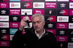 Jose Mourinho walks out after getting frustrated with technical difficulties with the virtual post-match press conference