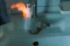 Bathroom sink turns into flame-throwing faucet