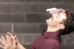 Circus juggler has mastered the art of paper airplane throwing