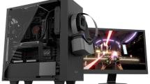 天面手前にHDMIを搭載する「VR向けPCケース」が11月発売。マグネット固定式のVRゴーグルスタンドも付属