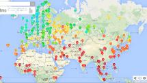 世界各地のリアルタイムの気候がわかる!市販の気象センサー測定値をマッピングした地図が面白い