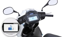 Electric scooter shares info via iPhone dock