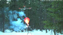 Homebuilt UAV hunts down hydrogen balloons, shoots firework missiles (video)