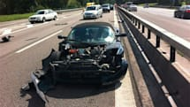 Tesla driver fails to complete world tour after crash on the home straight