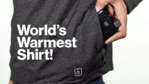 ワンボタンで三段階に暖かくなるヒートインナーシャツ「The Flare」