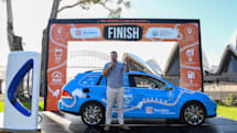 'World's longest' electric car trip ends in Australia