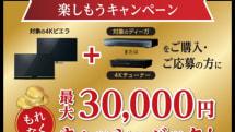 新4K衛星放送セットをおトクに。最大3万円キャッシュバックをパナソニックが実施