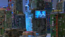Electronic mini-city comments on the dangers of surveillance