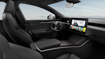 The redesigned Tesla Model S interior swaps in a steering yoke